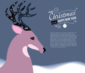 Merry Christmas and Happy New Year Card with Deer. — Stock Vector