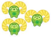 Cute Green Kawaii Yeti in three moods — Stock Vector