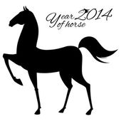 Post card for 2014 year of the Horse. — Stock Vector