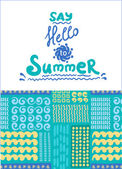 Summer card. Seamless pattern. Hand drawn doodles — Stock Vector