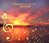 Mar desenfoque de fondo con tonalidad musical y notas — Vector de stock