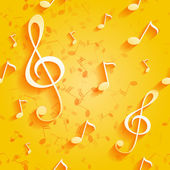 Seamless yellow pattern with music notes and key — Stock Vector