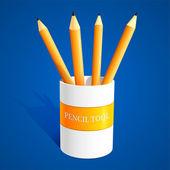 Set di matite vettoriale su sfondo blu — Vettoriale Stock