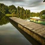 Fishing bridge on the river — Stock Photo #31180111