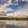 Stock Photo: Reflection of the sky in the pond in the park Tsaritsyno