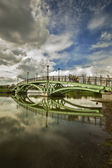 Bridge in Tsaritsyno homestead and its reflection — Stock Photo