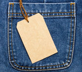 Jeans pocket and price tag — Stock Photo