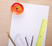 White paper with school supplies — Foto Stock