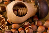 Hazelnuts in nutcracker — Stock Photo