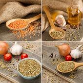 Green and red lentils — Foto de Stock