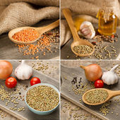 Green and red lentils — 图库照片