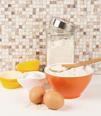 Baking tools and ingredients — Stock Photo