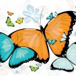Collection of butterflies with many colours - Stock Vector