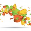 Colourful leaves swirling — Stock Vector