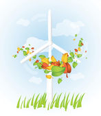 Wind turbine with flying leaves — Stock Vector