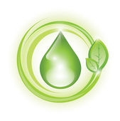 Eco symbol with drop — Stock Vector