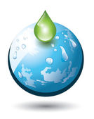 Planet earth with droplet — Stock Vector