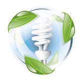 Fluorescent lightbulb, recycle concept — Stock Vector
