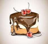 Chokladkaka med körsbär — Stockvektor