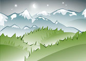 Vista notturna di montagna — Vettoriale Stock