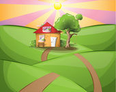 Rural sunset with a house — Stock Vector