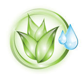 Plant icon with drops — Stock Vector