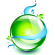 Stock Vector: Green sphere with water flowing around it