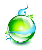 Green sphere with water flowing around it — Stock Vector