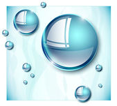 Blue water droplets — Stock Vector
