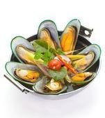 Sea musseles soup — Stock Photo