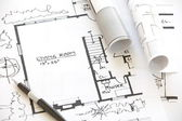 Architect rolls and plans — Stock Photo