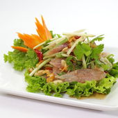 Spicy salad with  pork — Stock Photo