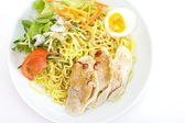 Dry noodles with salads — Stock Photo