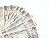 Close - up Japanese currency yen , bank notes and coins — Stock Photo
