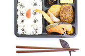 Contemporary Japanese ready-made lunchbox (bento box) — Stock Photo