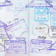 Immigration arrival stamps on passport — Stock Photo #40795463
