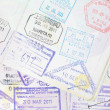 Immigration arrival stamps on passport — Stock Photo #40795483