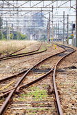 Rails for trains close-up — Stock Photo