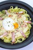 Pasta Carbonara with ham and cheese — Stock Photo