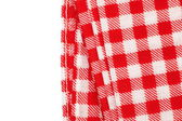 Red and white gingham tablecloth — Stock Photo