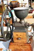 Old wooden coffee grinder — Stock Photo