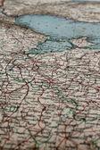 旧的意大利地理地图 — 图库照片