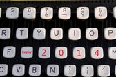 Happy new year 2014 on old typewriter — Stock Photo