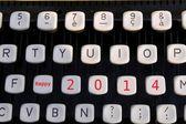 Happy new year 2014 on old typewriter — Stock Photo