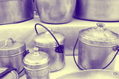 Old pots and pans in the kitchen — Stock Photo