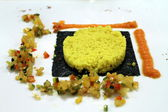 Couscous with turmeric nori seaweed and vegetables — Stock Photo