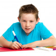 Boy artist drawing with felt pens. — Stock Photo