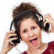 Teenage Girl with Headphones. — Stock Photo