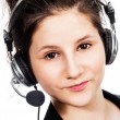 Stock Photo: Pretty girl with headset.