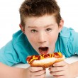 Hungry young boy eating a hotdog. — Stock Photo #27841489
